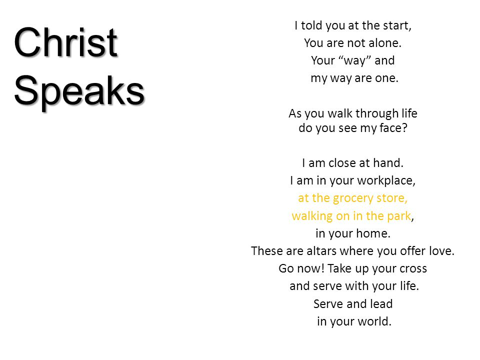 Christ Speaks I told you at the start, You are not alone.