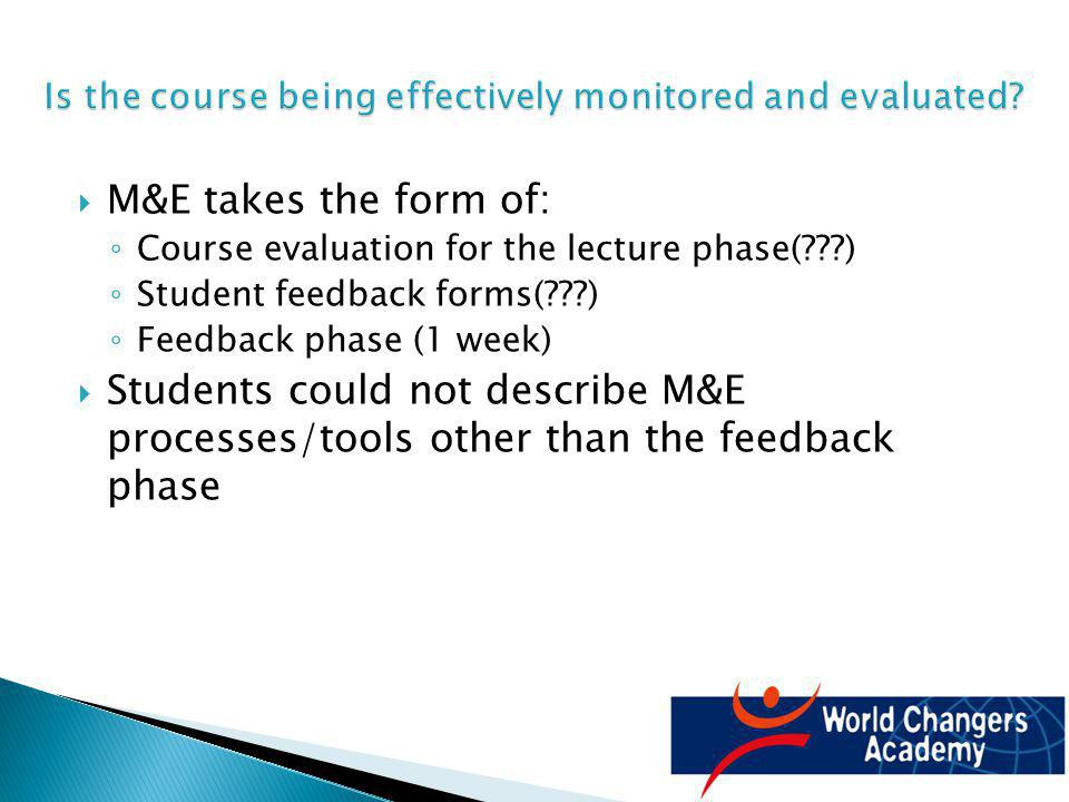 M&E takes the form of: Course evaluation for the lecture phase( ) Student feedback forms( ) Feedback phase (1 week) Students could not describe M&E processes/tools other than the feedback phase