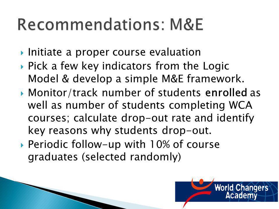Initiate a proper course evaluation Pick a few key indicators from the Logic Model & develop a simple M&E framework.