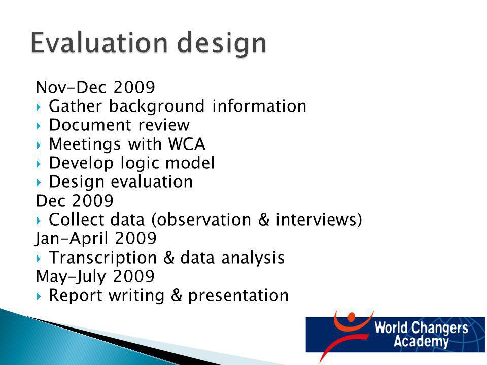 Nov-Dec 2009 Gather background information Document review Meetings with WCA Develop logic model Design evaluation Dec 2009 Collect data (observation & interviews) Jan-April 2009 Transcription & data analysis May-July 2009 Report writing & presentation