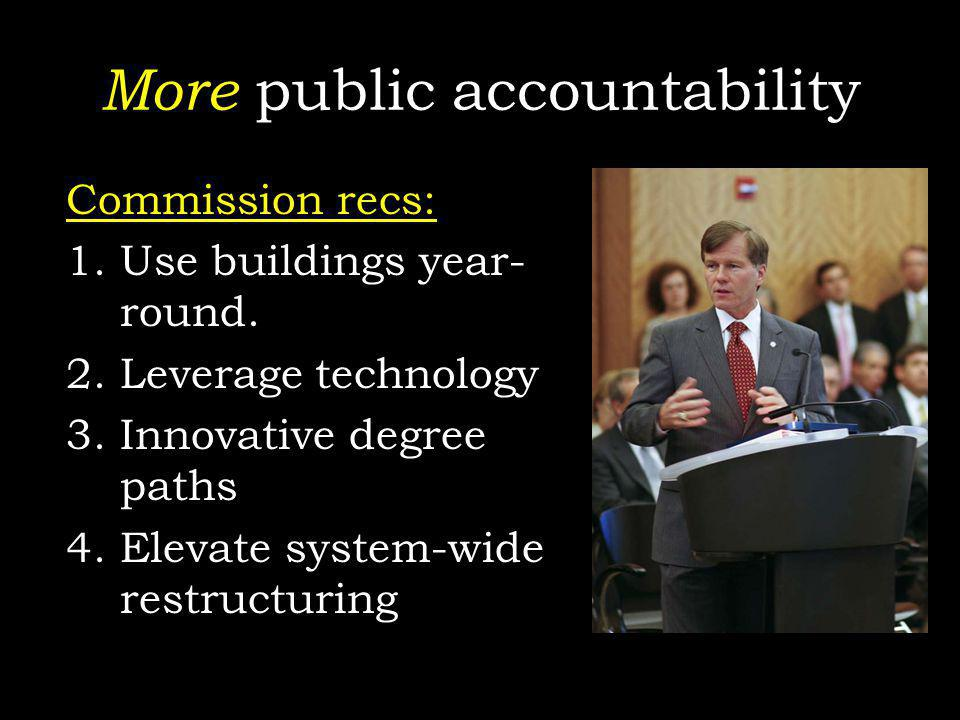 More public accountability Commission recs: 1.Use buildings year- round. 2.Leverage technology 3.Innovative degree paths 4.Elevate system-wide restruc