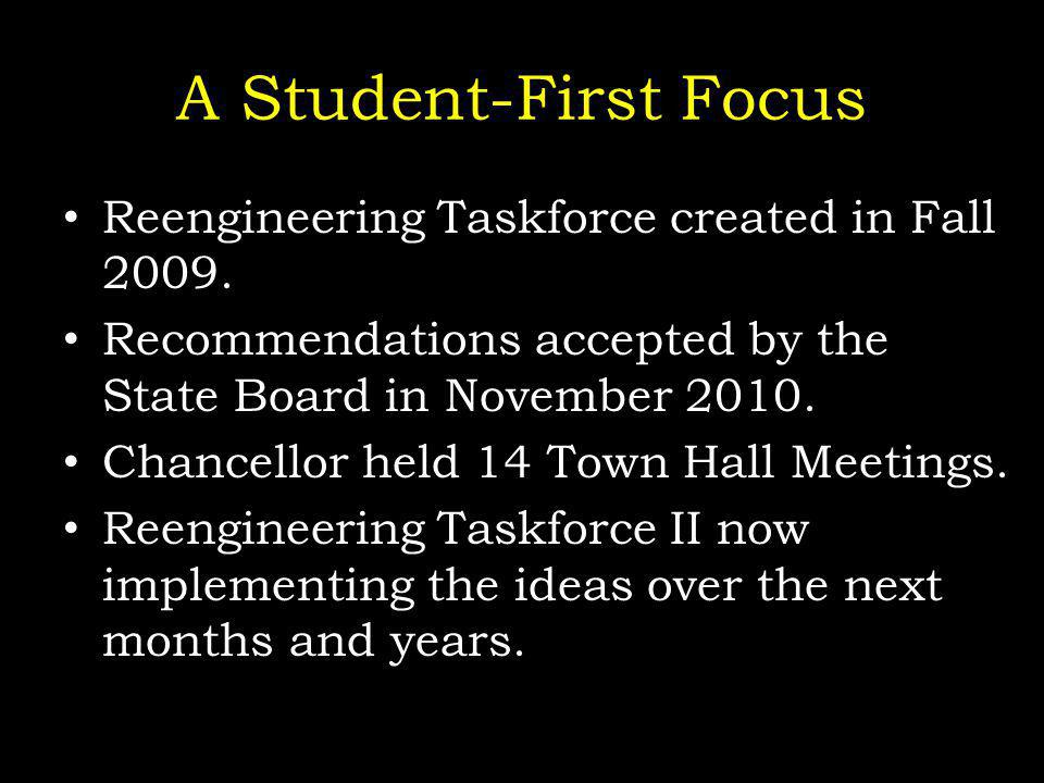 A Student-First Focus Reengineering Taskforce created in Fall 2009.