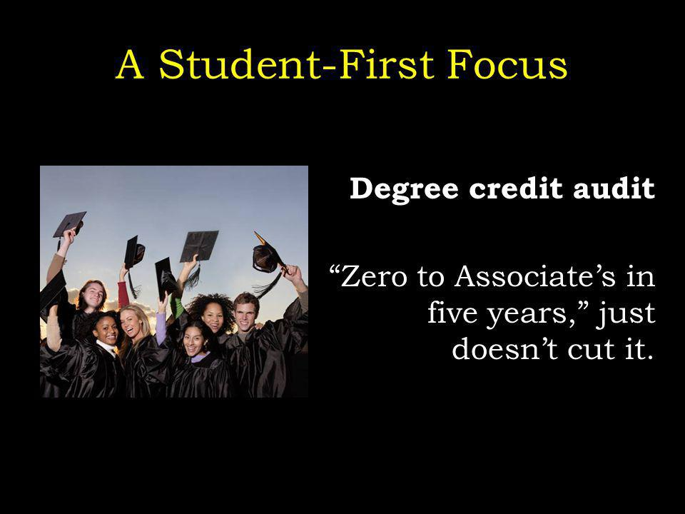 A Student-First Focus Degree credit audit Zero to Associates in five years, just doesnt cut it.