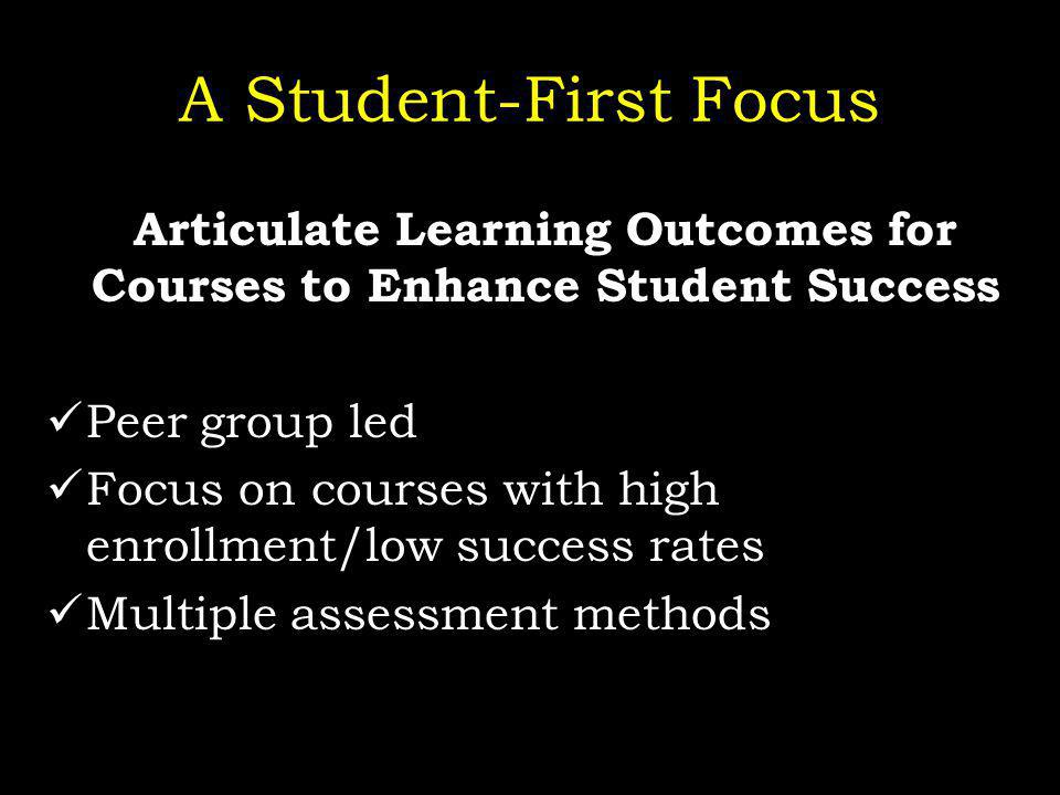 A Student-First Focus Articulate Learning Outcomes for Courses to Enhance Student Success Peer group led Focus on courses with high enrollment/low success rates Multiple assessment methods