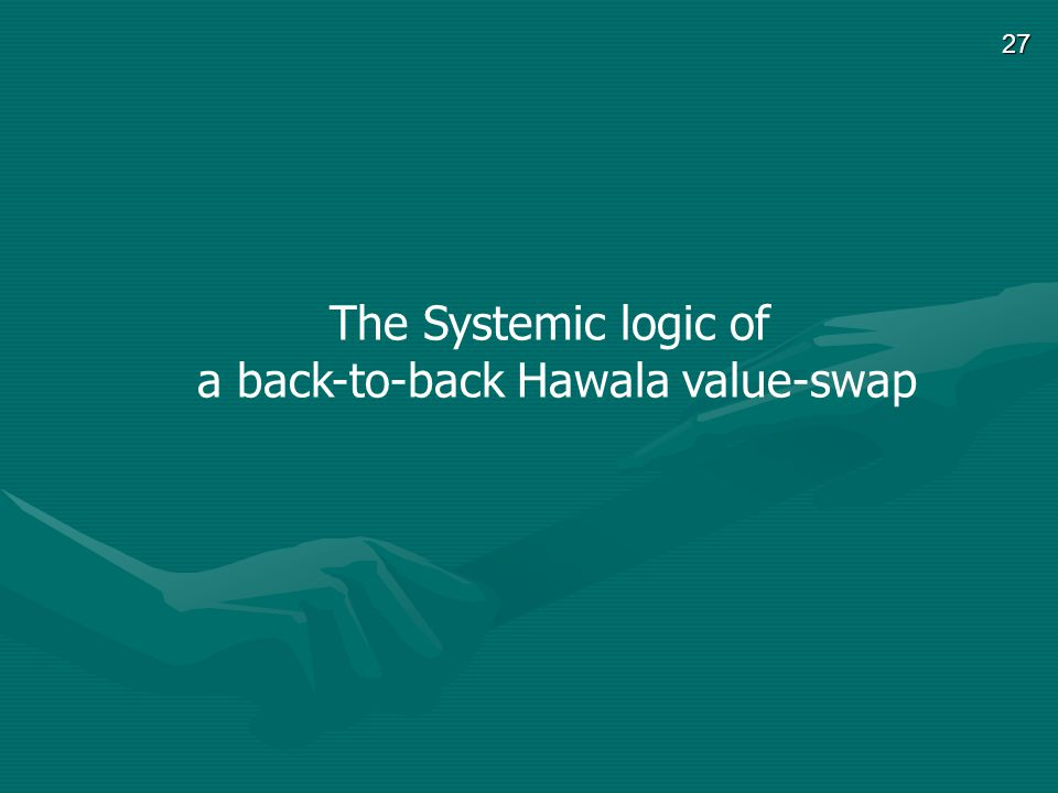 27 The Systemic logic of a back-to-back Hawala value-swap