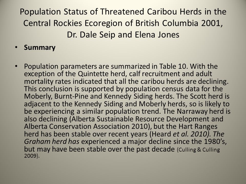 Population Status of Threatened Caribou Herds in the Central Rockies Ecoregion of British Columbia 2001, Dr.