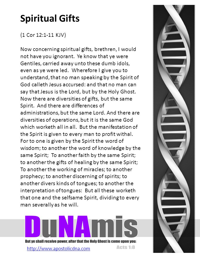 http://www.apostolicdna.com Spiritual Gifts (1 Cor 12:1-11 KJV) Now concerning spiritual gifts, brethren, I would not have you ignorant.