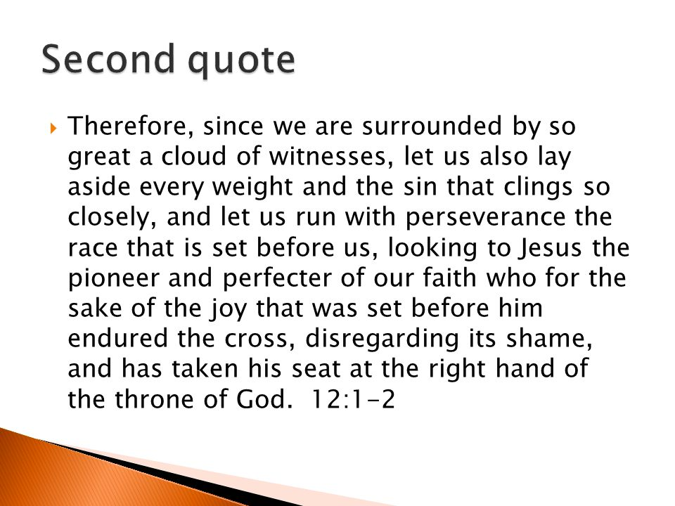 Therefore, since we are surrounded by so great a cloud of witnesses, let us also lay aside every weight and the sin that clings so closely, and let us run with perseverance the race that is set before us, looking to Jesus the pioneer and perfecter of our faith who for the sake of the joy that was set before him endured the cross, disregarding its shame, and has taken his seat at the right hand of the throne of God.