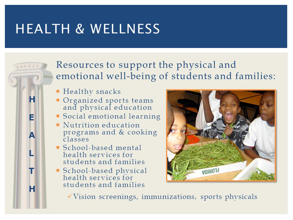 Resources to support the physical and emotional well-being of students and families: Healthy snacks Organized sports teams and physical education Social emotional learning Nutrition education programs and & cooking classes School-based mental health services for students and families School-based physical health services for students and families HEALTH & WELLNESS Vision screenings, immunizations, sports physicals