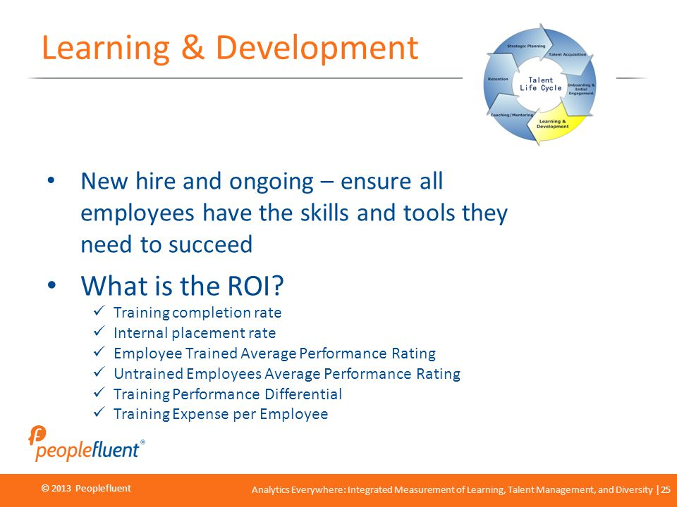 © 2013 Peoplefluent © 2012 Peoplefluent Analytics Everywhere: Integrated Measurement of Learning, Talent Management, and Diversity 25 Learning & Devel