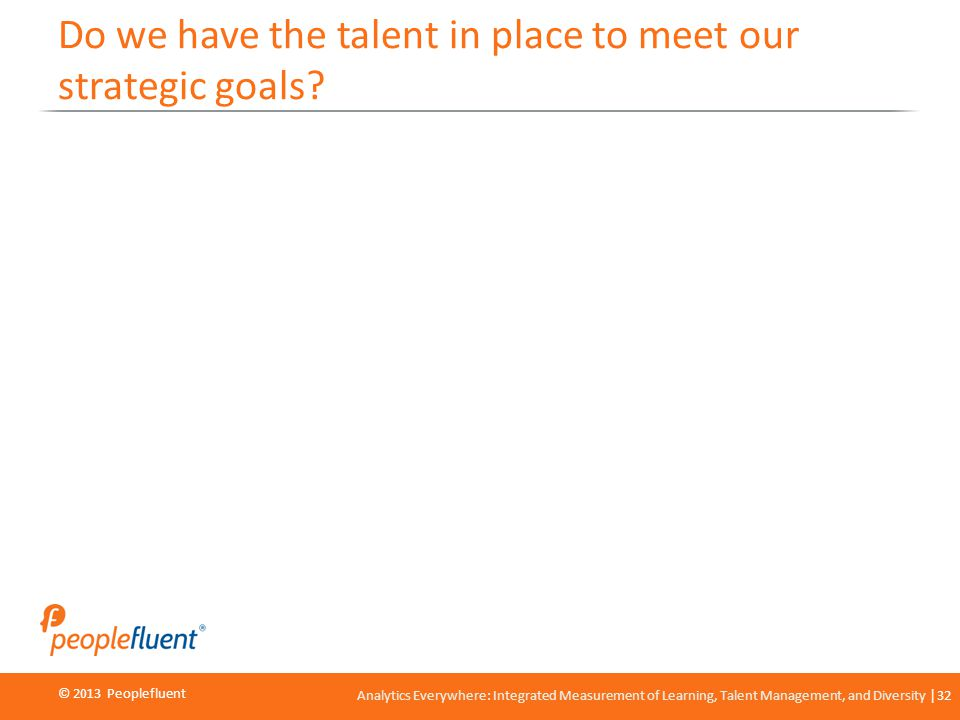 © 2013 Peoplefluent © 2012 Peoplefluent Analytics Everywhere: Integrated Measurement of Learning, Talent Management, and Diversity 32 Do we have the talent in place to meet our strategic goals?