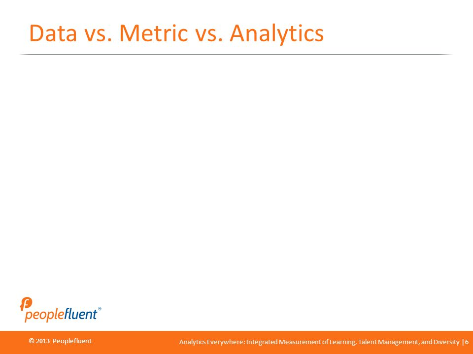 © 2013 Peoplefluent © 2012 Peoplefluent Analytics Everywhere: Integrated Measurement of Learning, Talent Management, and Diversity 6 Data vs. Metric v