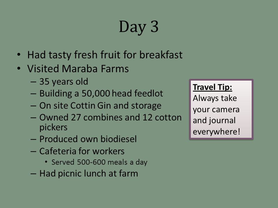 Day 3 Had tasty fresh fruit for breakfast Visited Maraba Farms – 35 years old – Building a 50,000 head feedlot – On site Cottin Gin and storage – Owned 27 combines and 12 cotton pickers – Produced own biodiesel – Cafeteria for workers Served 500-600 meals a day – Had picnic lunch at farm Travel Tip: Always take your camera and journal everywhere.