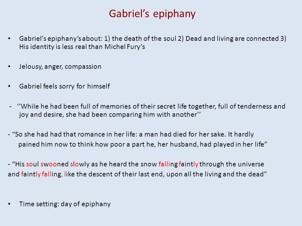 Gabriels epiphany Gabriels epiphanys about: 1) the death of the soul 2) Dead and living are connected 3) His identity is less real than Michel Furys J