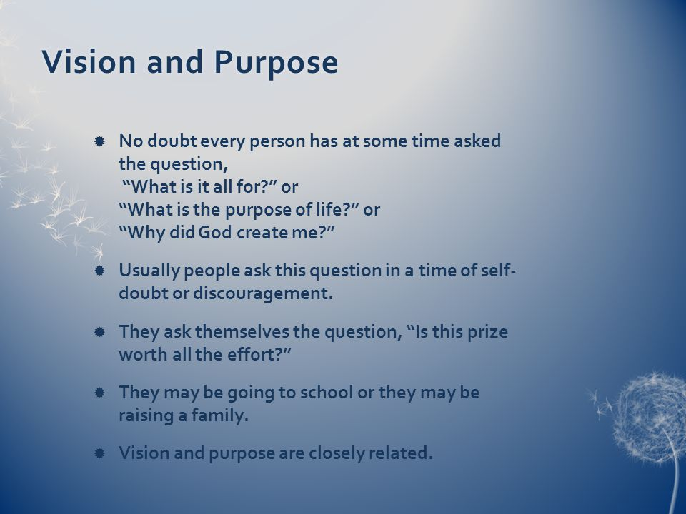 Vision and PurposeVision and Purpose No doubt every person has at some time asked the question, What is it all for.