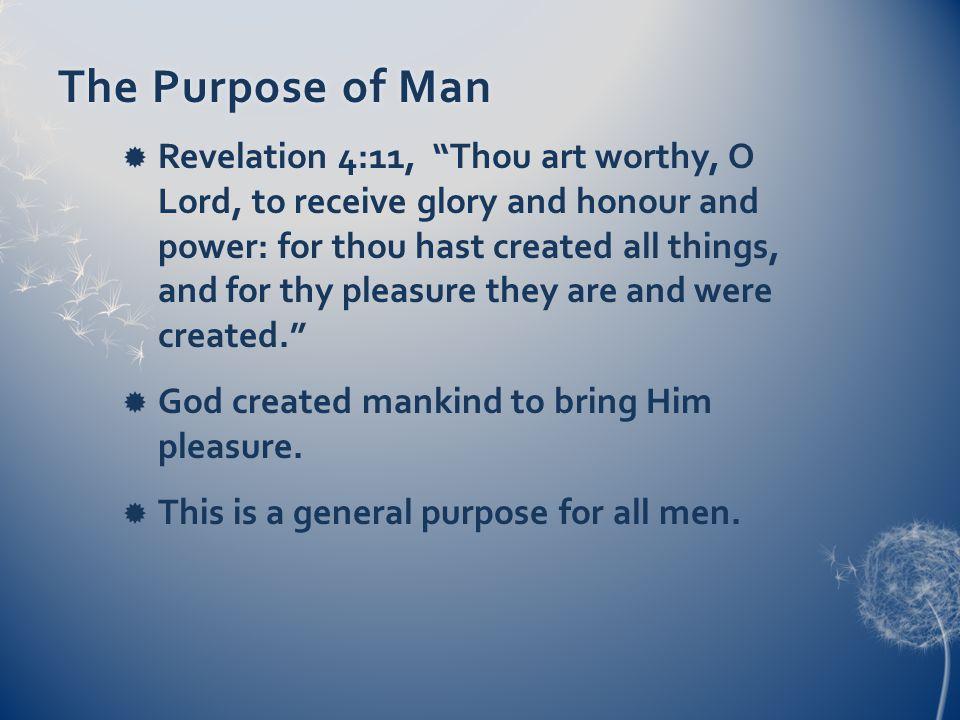 Individual PurposeIndividual Purpose But each individual was created for a distinct purpose.
