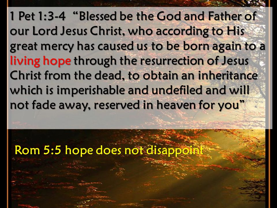 1 Pet 1:3-4 Blessed be the God and Father of our Lord Jesus Christ, who according to His great mercy has caused us to be born again to a living hope t