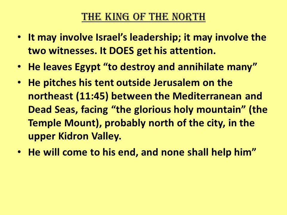 The king of the north It may involve Israels leadership; it may involve the two witnesses.