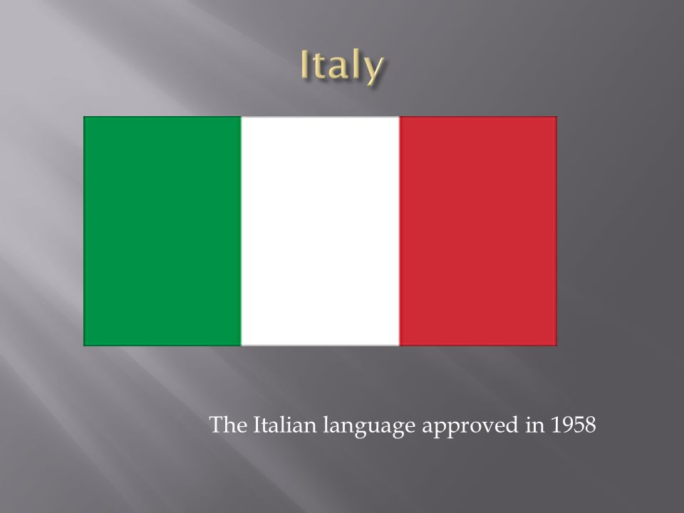 The Italian language approved in 1958