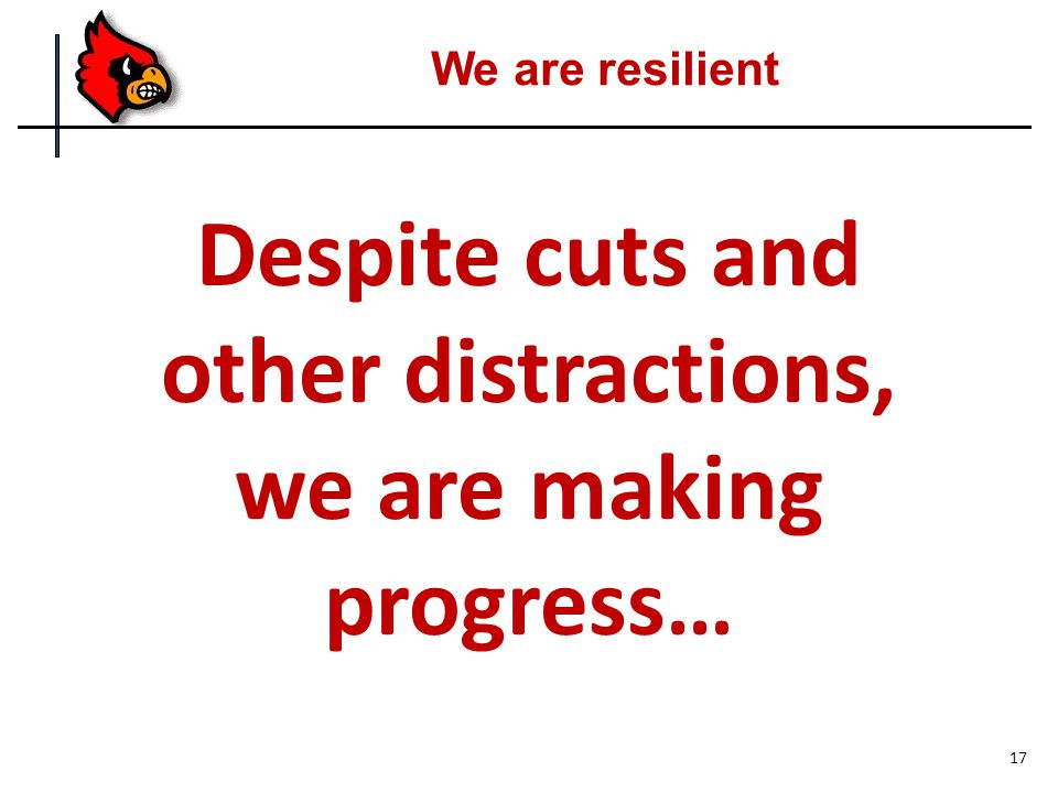 Despite cuts and other distractions, we are making progress… We are resilient 17
