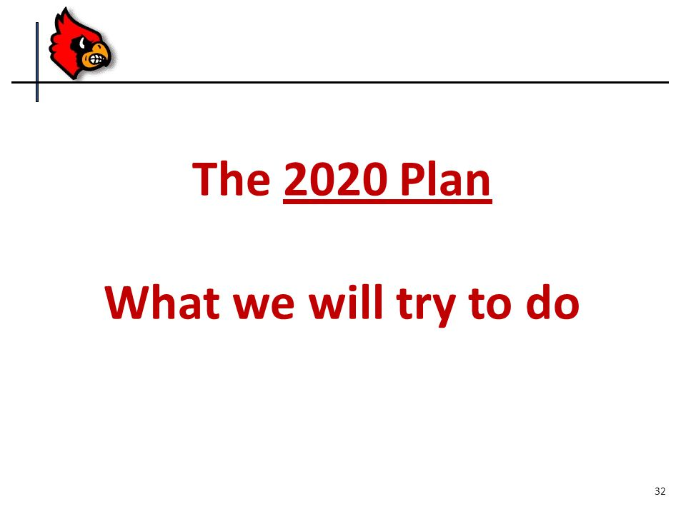 The 2020 Plan What we will try to do 32
