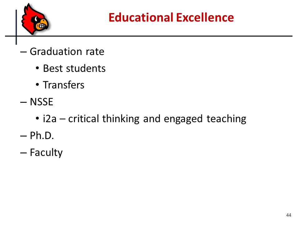 – Graduation rate Best students Transfers – NSSE i2a – critical thinking and engaged teaching – Ph.D.