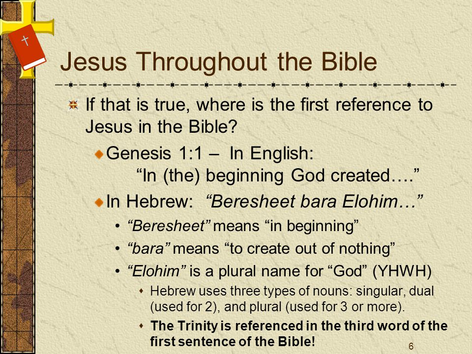 Jesus Throughout the Bible If that is true, where is the first reference to Jesus in the Bible.