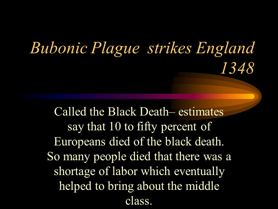 Bubonic Plague strikes England 1348 Called the Black Death– estimates say that 10 to fifty percent of Europeans died of the black death.
