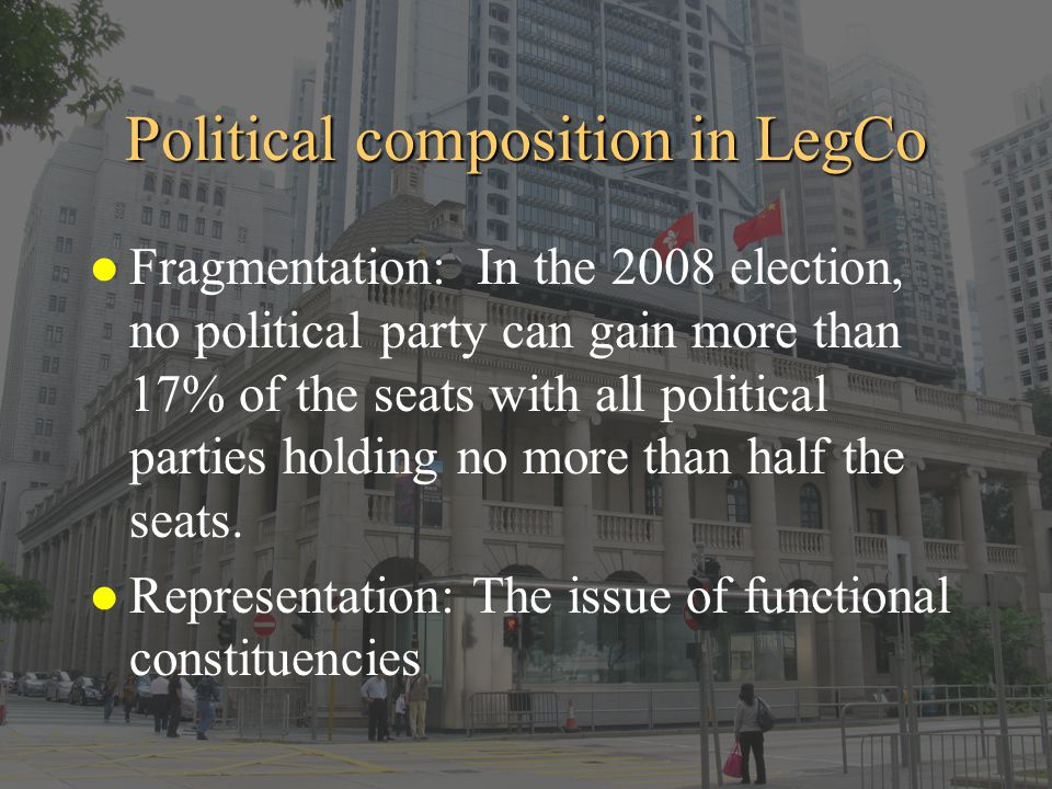Political composition in LegCo l Fragmentation: In the 2008 election, no political party can gain more than 17% of the seats with all political partie