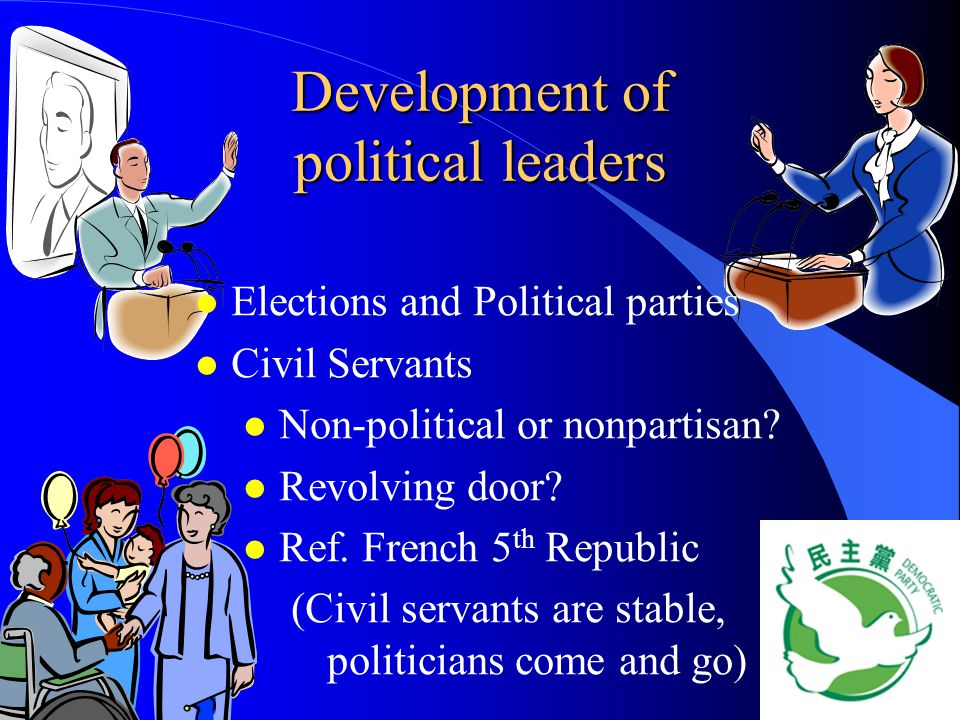 Development of political leaders l l Elections and Political parties l l Civil Servants l l Non-political or nonpartisan? l l Revolving door? l l Ref.