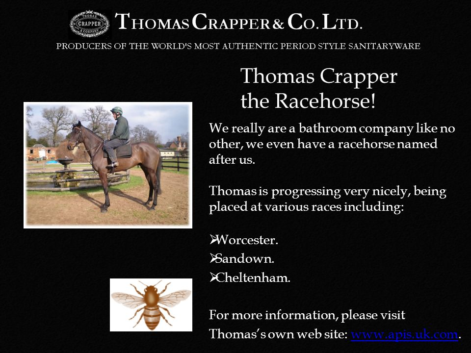 Thomas Crapper the Racehorse.