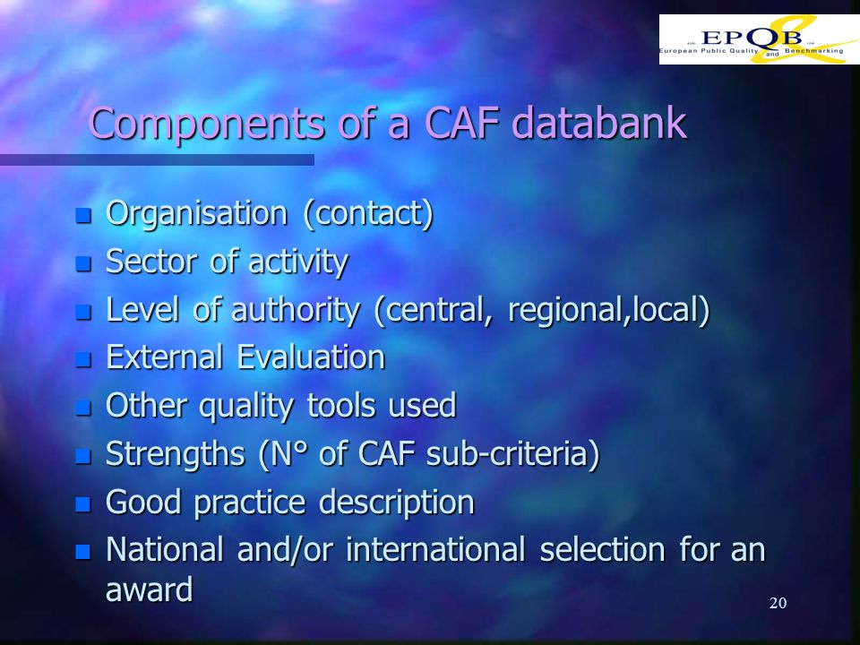 20 Components of a CAF databank n Organisation (contact) n Sector of activity n Level of authority (central, regional,local) n External Evaluation n Other quality tools used n Strengths (N° of CAF sub-criteria) n Good practice description n National and/or international selection for an award