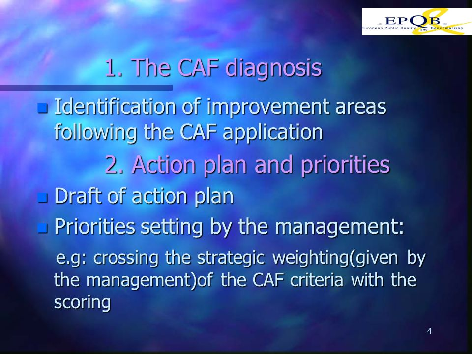 4 1.The CAF diagnosis n Identification of improvement areas following the CAF application 2.