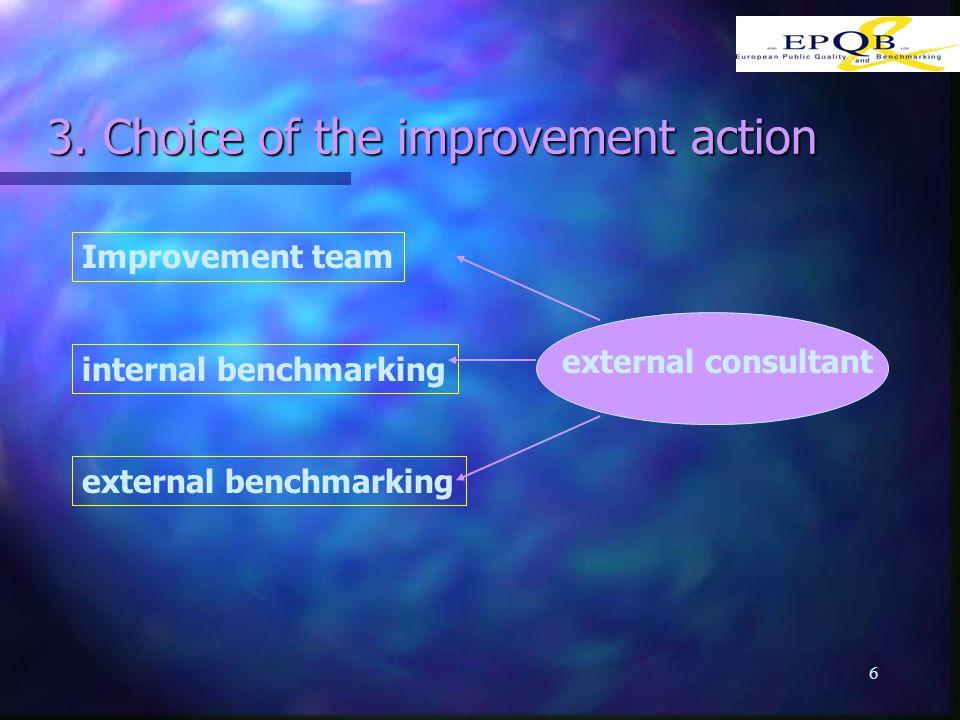 6 3. Choice of the improvement action Improvement team internal benchmarking external benchmarking external consultant