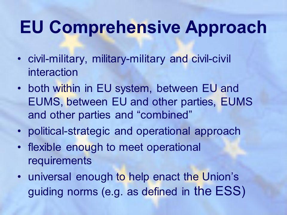 EU Comprehensive Approach civil-military, military-military and civil-civil interaction both within in EU system, between EU and EUMS, between EU and