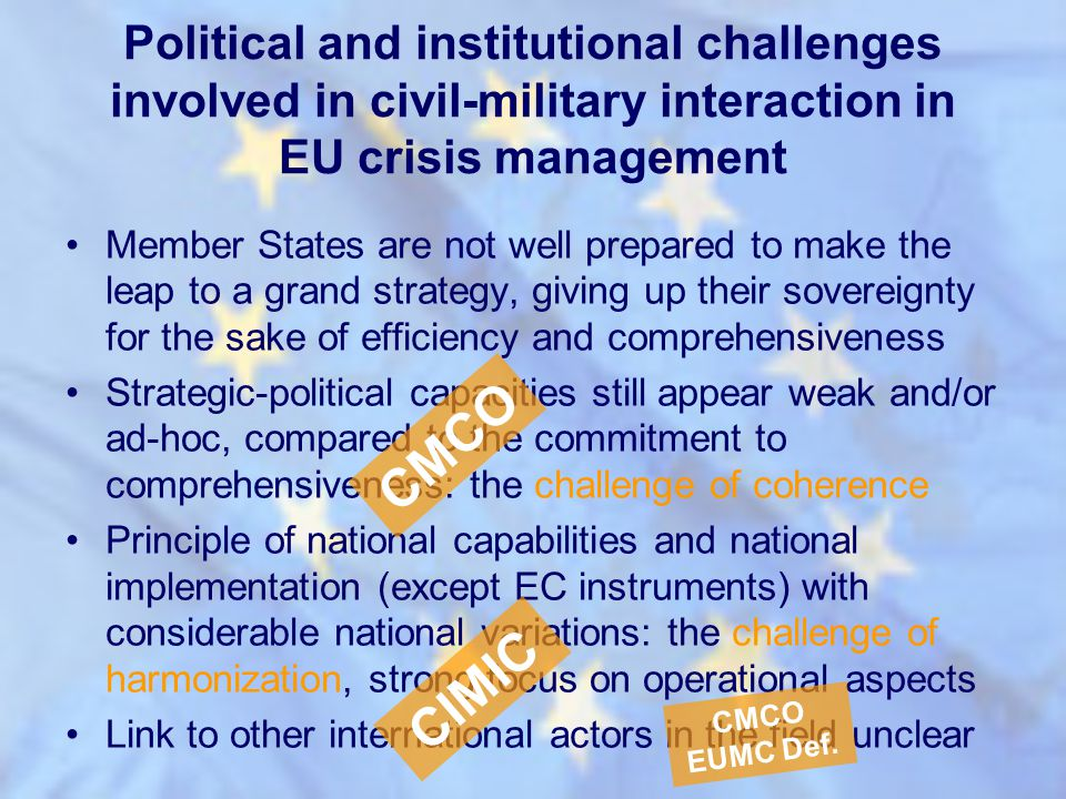 Political and institutional challenges involved in civil-military interaction in EU crisis management Member States are not well prepared to make the