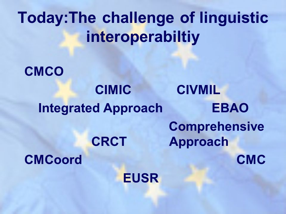 Today:The challenge of linguistic interoperabiltiy CMCO CIMIC CIVMIL Integrated Approach EBAO Comprehensive CRCT Approach CMCoord CMC EUSR