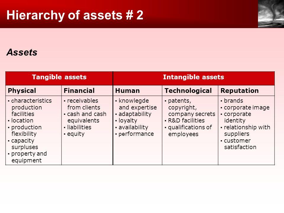 Hierarchy of assets # 2 Assets Tangible assetsIntangible assets PhysicalFinancialHumanTechnologicalReputation c haracteristics production facilities l
