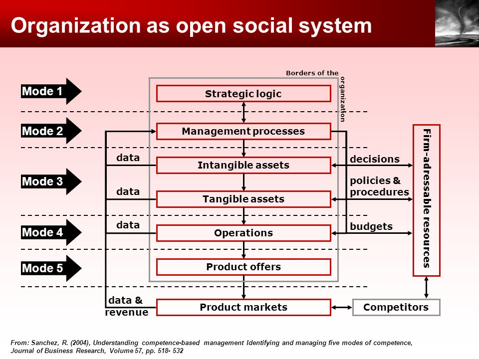 Organization as open social system Mode 1 Mode 2 Mode 3 Mode 4 Mode 5 From: Sanchez, R. (2004), Understanding competence-based management Identifying