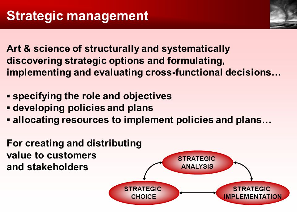 Strategic management Art & science of structurally and systematically discovering strategic options and formulating, implementing and evaluating cross-functional decisions… specifying the role and objectives developing policies and plans allocating resources to implement policies and plans… For creating and distributing value to customers and stakeholders STRATEGIC ANALYSIS STRATEGIC CHOICE STRATEGIC IMPLEMENTATION