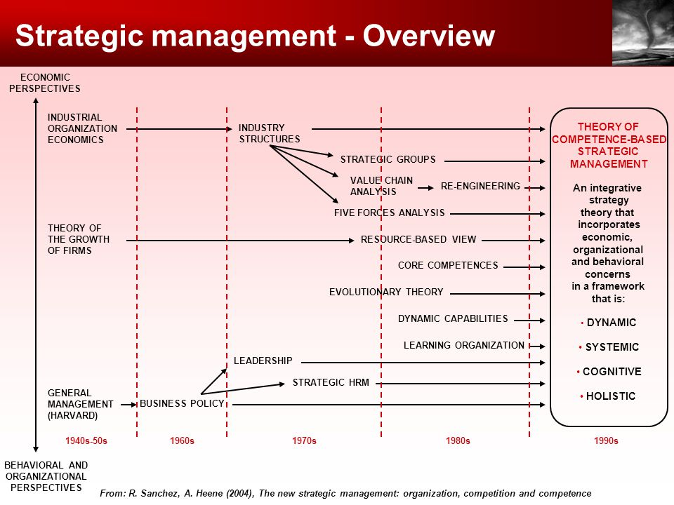 Strategic management - Overview From: R. Sanchez, A. Heene (2004), The new strategic management: organization, competition and competence THEORY OF CO