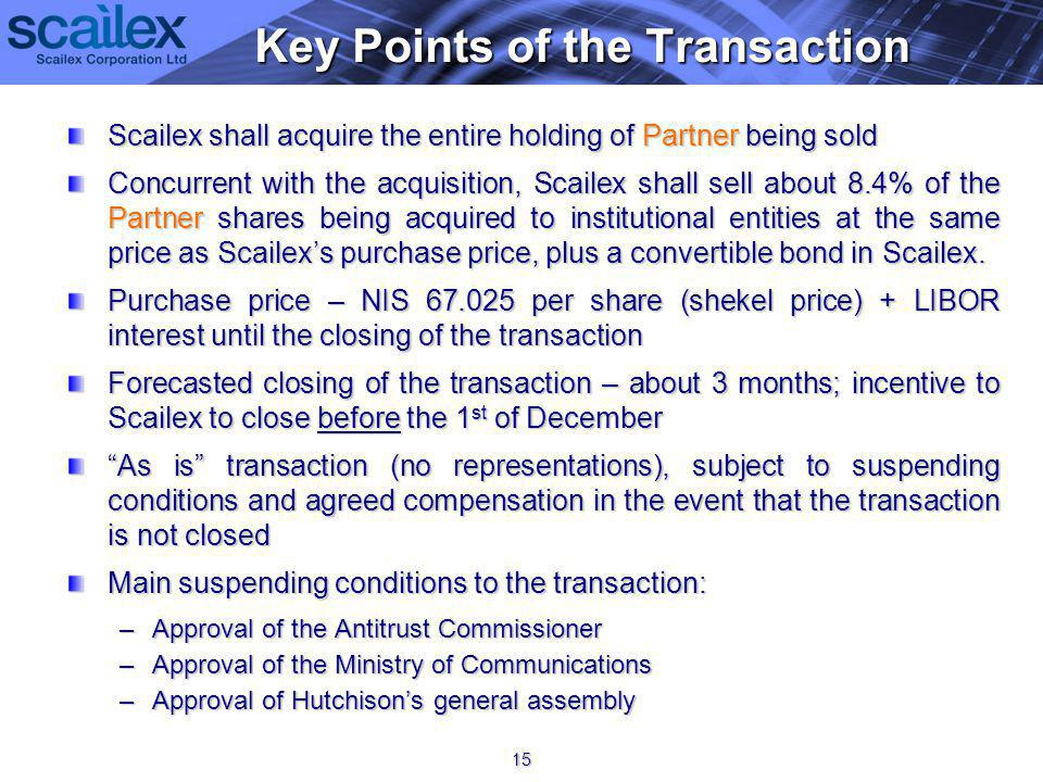 Scailex shall acquire the entire holding of Partner being sold Concurrent with the acquisition, Scailex shall sell about 8.4% of the Partner shares being acquired to institutional entities at the same price as Scailexs purchase price, plus a convertible bond in Scailex.