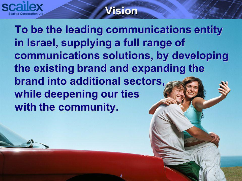 Vision To be the leading communications entity in Israel, supplying a full range of communications solutions, by developing the existing brand and expanding the brand into additional sectors, while deepening our ties with the community.