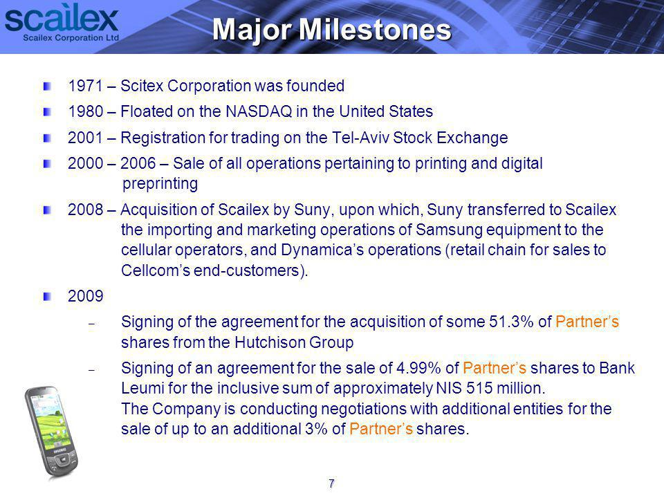 1971 – Scitex Corporation was founded 1980 – Floated on the NASDAQ in the United States 2001 – Registration for trading on the Tel-Aviv Stock Exchange 2000 – 2006 – Sale of all operations pertaining to printing and digital preprinting 2008 – Acquisition of Scailex by Suny, upon which, Suny transferred to Scailex the importing and marketing operations of Samsung equipment to the cellular operators, and Dynamicas operations (retail chain for sales to Cellcoms end-customers).