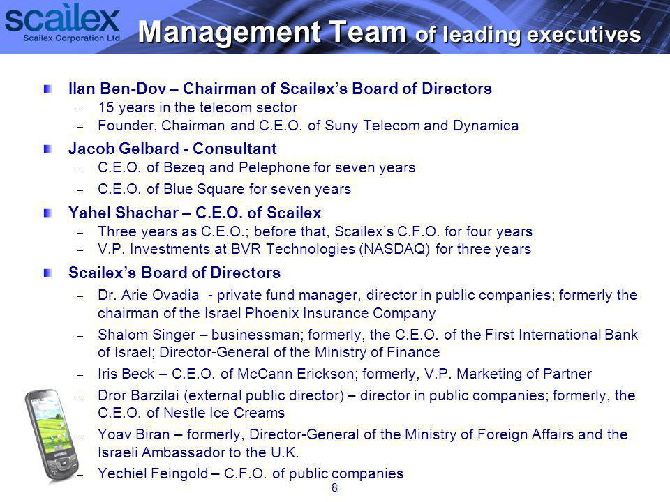 Ilan Ben-Dov – Chairman of Scailexs Board of Directors – – 15 years in the telecom sector – – Founder, Chairman and C.E.O.