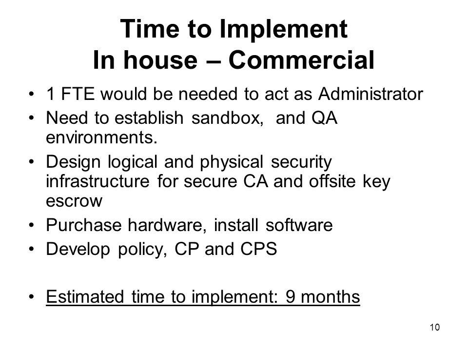 10 Time to Implement In house – Commercial 1 FTE would be needed to act as Administrator Need to establish sandbox, and QA environments.