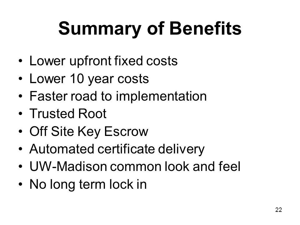 22 Summary of Benefits Lower upfront fixed costs Lower 10 year costs Faster road to implementation Trusted Root Off Site Key Escrow Automated certificate delivery UW-Madison common look and feel No long term lock in