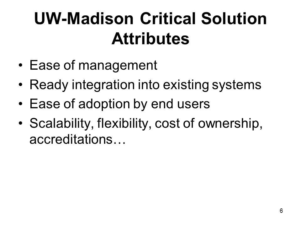 6 UW-Madison Critical Solution Attributes Ease of management Ready integration into existing systems Ease of adoption by end users Scalability, flexibility, cost of ownership, accreditations…