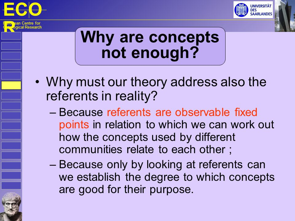 ECO R European Centre for Ontological Research Why are concepts not enough? Why must our theory address also the referents in reality? – Because refer