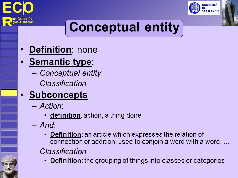 ECO R European Centre for Ontological Research Conceptual entity Definition: none Semantic type: – Conceptual entity – Classification Subconcepts: – A